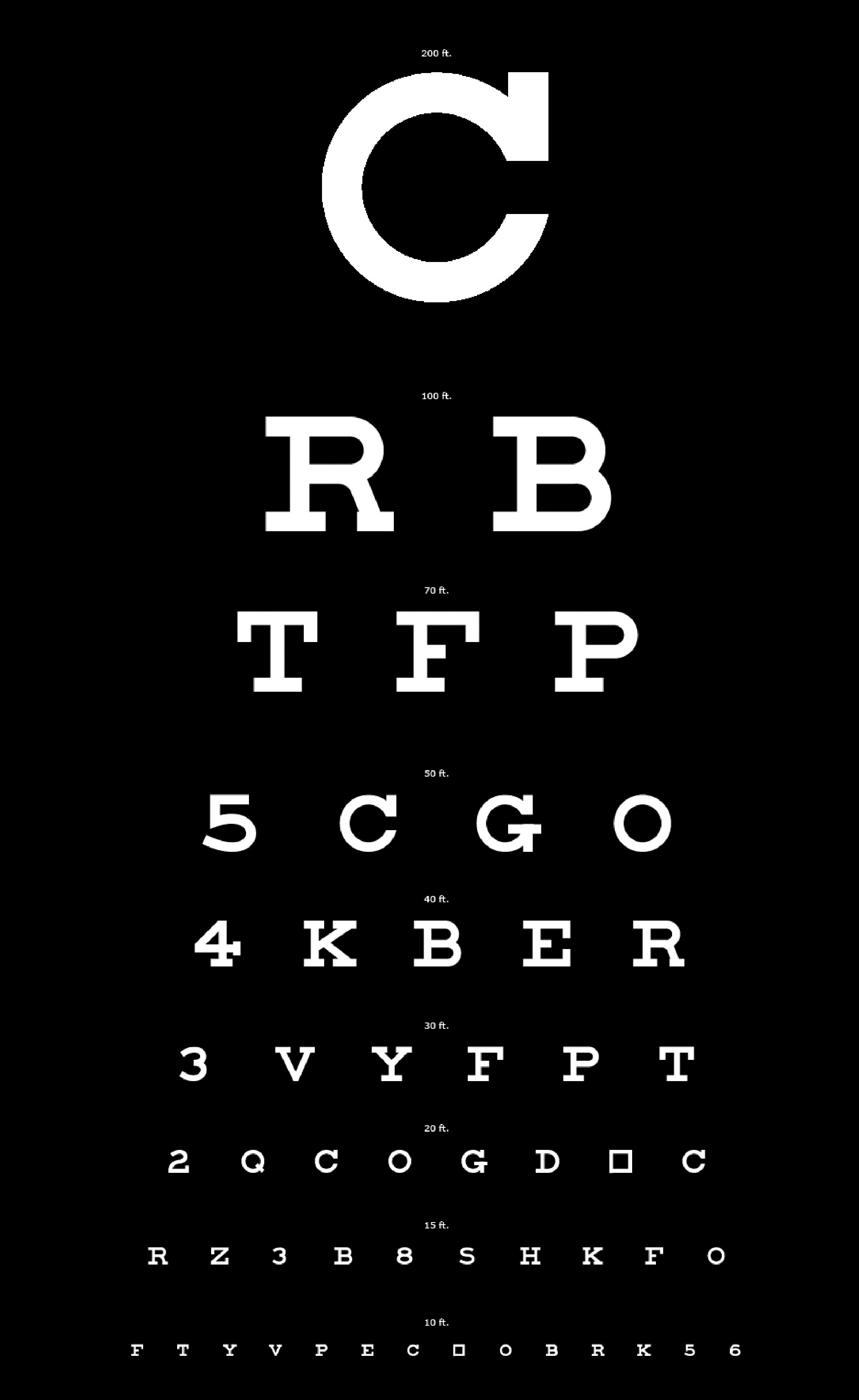 Eyecharts to test and improve close and distant eyesight eyechart white letters on black easy to see nvjuhfo Image collections