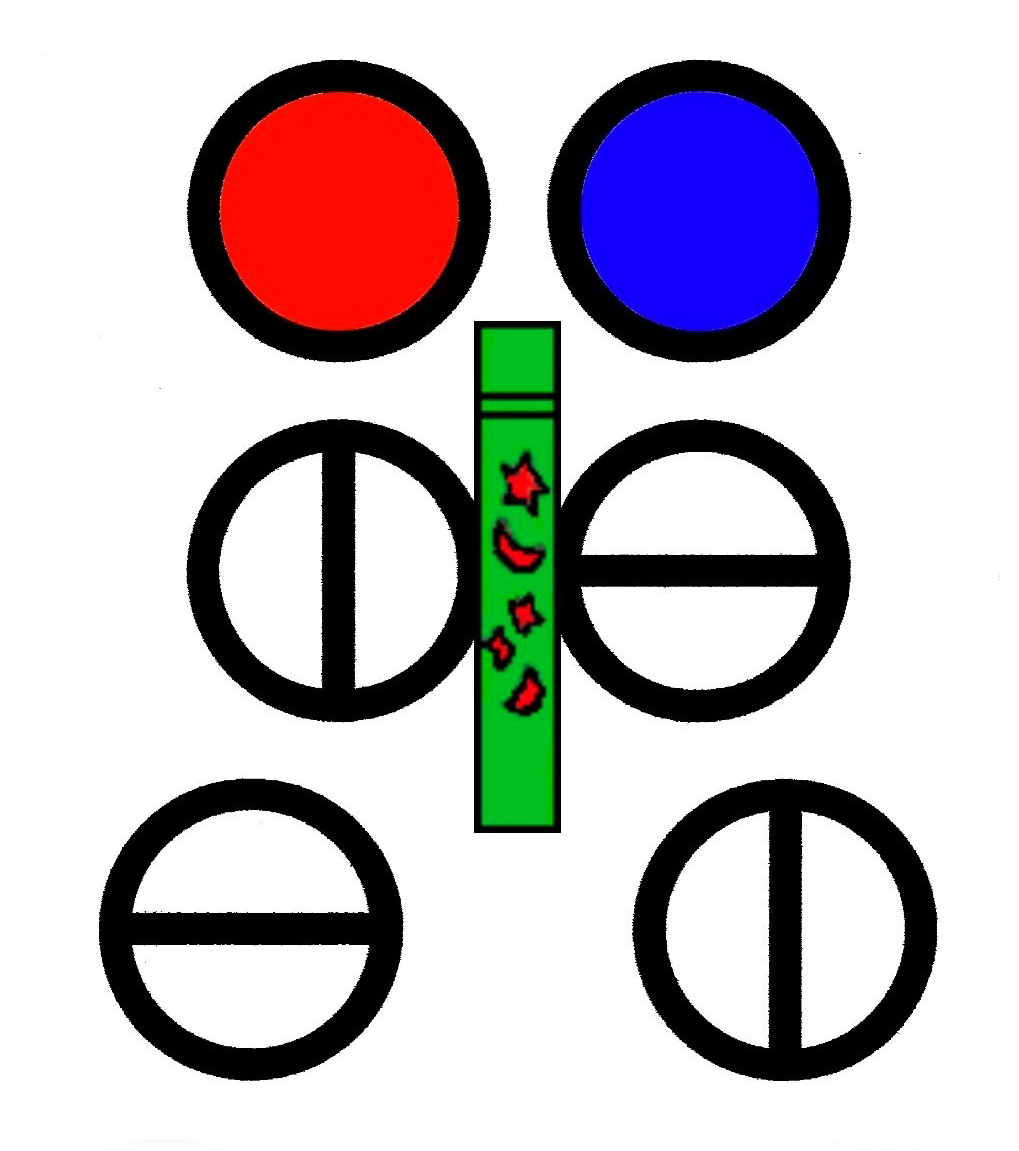 Mini 3-D Warning Example; Staring at the Pen Placed in Front of the 2 Red, Blue Circles to Create a Illusion of a 3rd Circle. This strains the eyes, brain, eye muscles